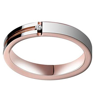 a21ca9ae5023f PDAYWID 4MM Tungsten Rings for Women Rose Gold Couples Ring Middle Groove  Diamond Wedding Bands Size