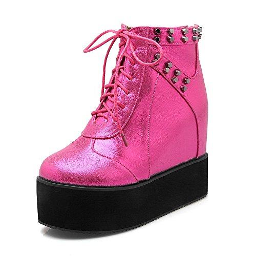 AgooLar Damen Eingelegt Hoher Absatz Reißverschluss Rund Zehe Stiefel, Rosa, 35