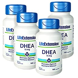 Life Extension DHEA (Dehydroepiandrosterone) 100 15mg Capsules - Discount 4-Pak