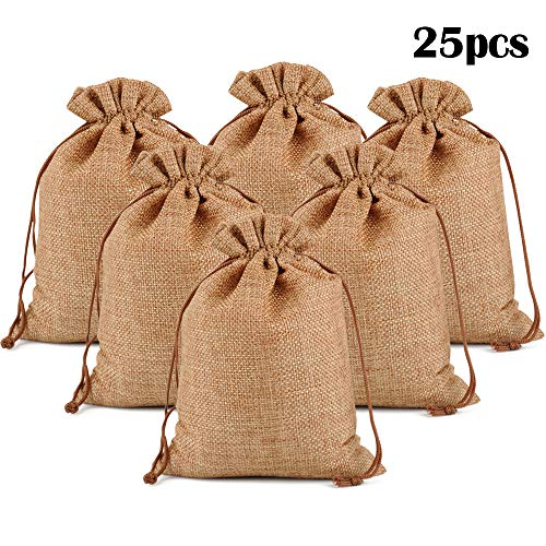 Mini Burlap Bags (Lucky Monet 25/50/100PCS Burlap Gift Bags Wedding Hessian Jute Bags Linen Jewelry Pouches with Drawstring for Birthday, Party, Wedding Favors, Present, Art and DIY Craft (25Pcs, Coffee, 3