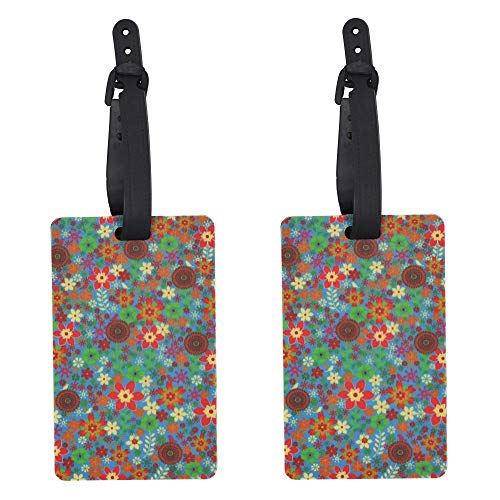REAL SIC Durable Luggage Tag - Colorful, Unique Designs for Travel IDs, Luggage Label for Bags, Suitcases, Briefcases, Carry-ons & Garment Bags (Wild Flowers)