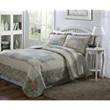 Beautiful Heritage 3 Piece Hand Crafted Patchwork Quilt Set Bedspread - Queen Size