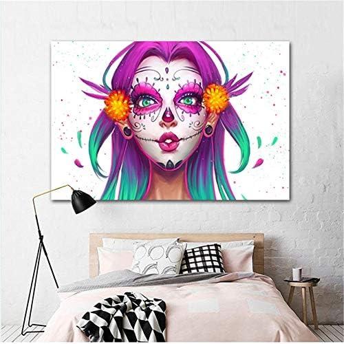 hetingyue Impresión en Lienzo Abstracto Hermosa niña Acuarela Cara Pop Artista decoración del hogar Pared Mural Dormitorio Sala de Estar Mural Pintura sin Marco 70X105CM