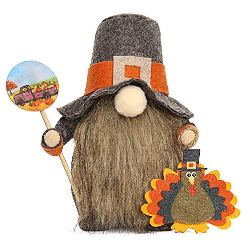 Thanksgiving Gnomes Decorations Plush Toys with Turkeys Desktop Gnome Decoration Thanksgiving Day Handmade Dwarf Doll Faceless Ornaments( Gnomes Doll