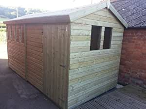 14x8 Heavy Duty 19mm Tanalised Apex Pressure Treated Garden Shed With Extra Height. For The Best Deal Call Us Direct!