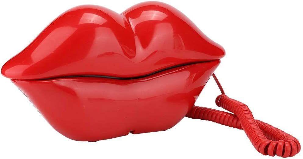 Vbestlife Red Lips Telephone for Novelty Interesting Gift, Sexy Mouth Lip Corded Landline Phone Desk Phone Home Furniture Decor…