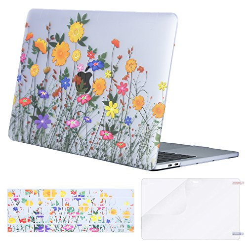 MOSISO MacBook Pro 13 Case 2018 2017 2016 Release A1989/A1706/A1708 w/ & w/o Touch Bar,Plastic Pattern Hard Case & Keyboard Cover & Screen Protector Compatible Newest Mac Pro 13 in,Sunflower