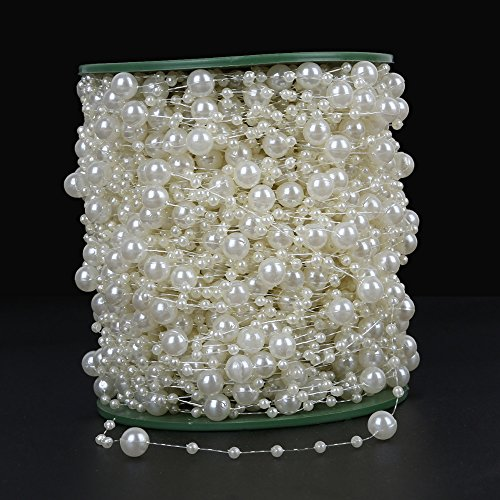 Pearl Bead Roll Faux Pearls Beads String By the Roll Faux Crystal Beads Garland 200Ft ABS Cuttable for Christmas Tree Decoration, Valentine, Exhibition,Wedding, Clothing,Costume,DIY decoration( Ivory) -