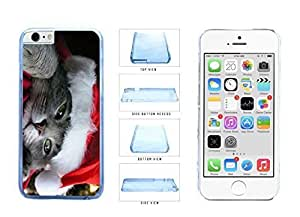 Cute Cat in Santa Hat Clear Plastic Phone Case Back Cover Apple iPhone 6 Plus (5.5 Inches)