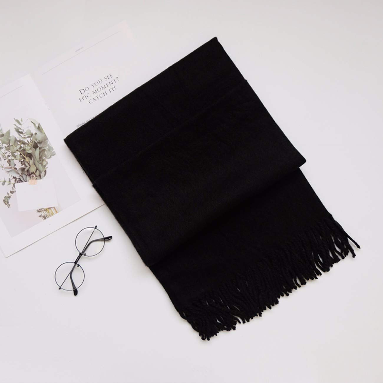 F Thickened Pure color Cashmere Scarf, DualPurpose Shawl and Long Neck Scarf.