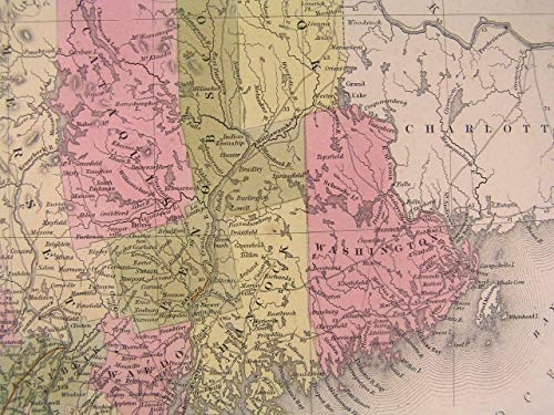 Maine state 1850 S.A. Mitchell Thomas Cowperthwait nice antique hand color map