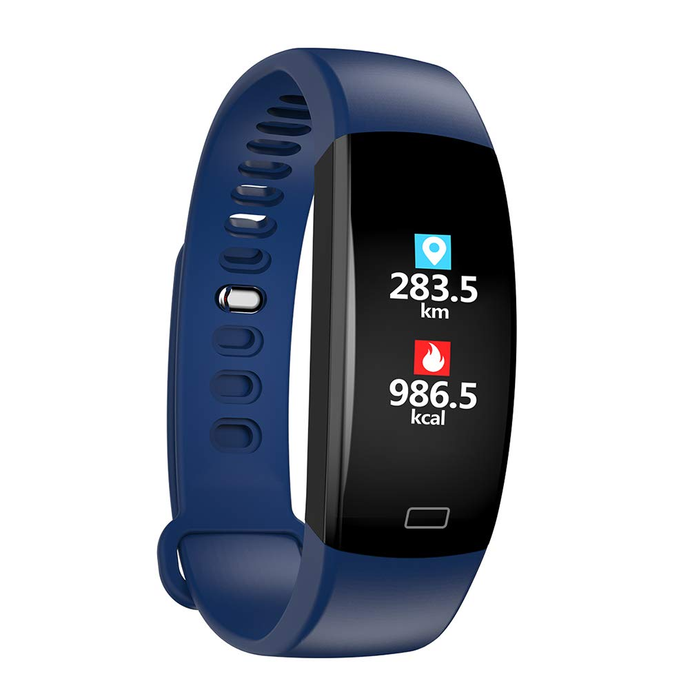 pedometer Fitness Tracker, Activity Tracker, Sports Bluetooth Bracelet, Watch, Sleep Monitoring, Waterproof, Android iOS Smartphones (Color : Blue, Size : 2pcs) by pedometer