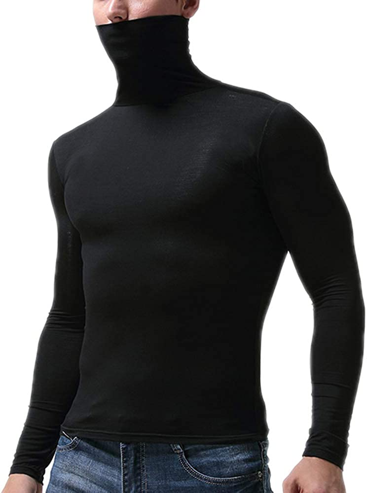 Thermal Top Men Turtle Neck Long Sleeves T-Shirt Comfy Autumn Winter Warm  Underwear Baselayer: Amazon.co.uk: Clothing