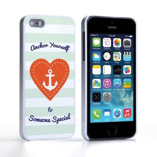 Caseflex Coque iPhone 5 / 5S Etui Vert / Rouge Ancre coeur D'Amour Saint Valentin Dur Housse