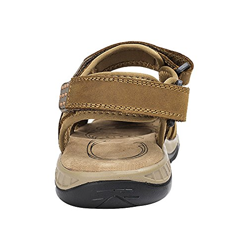 Closed Outdoor Mens Sport Leather Strap Summer Shoes Loop Toe and Tan Hook rismart Sandals p5qwHY4dq