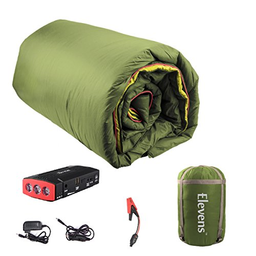 Blanket Heated Battery (Elevens 3-in-1 Battery Powered Down Blanket for 4-Season Traveling, Camping, Hiking & Outdoor Activities (Green))