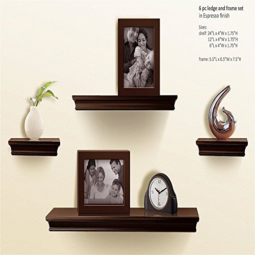 lves Espresso, Ledge Wall Shelf, Super Sturdy, Easy to Install, 2 Photo Frames Inclouded (4 Inches Deep, Set of 4 pcs) ()