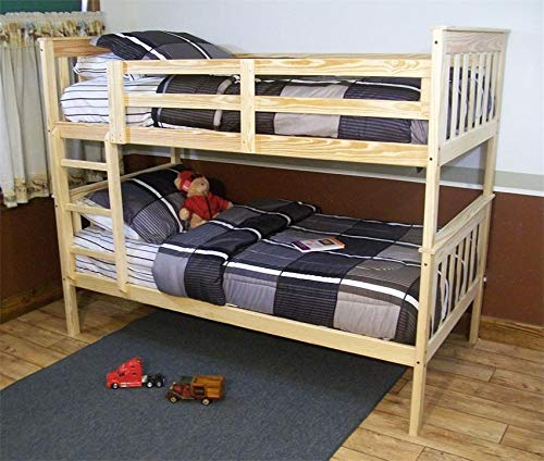(DutchCrafters Amish Kids' VersaLoft Twin Bunk Bed with Ladder, Mission Style Unfinished)