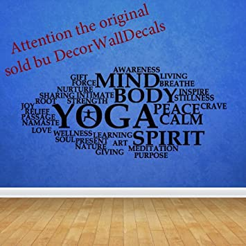 Amazoncom Wall Decal Decor Decals Sticker Art Design Vinyl Yoga - Yoga studio wall decals