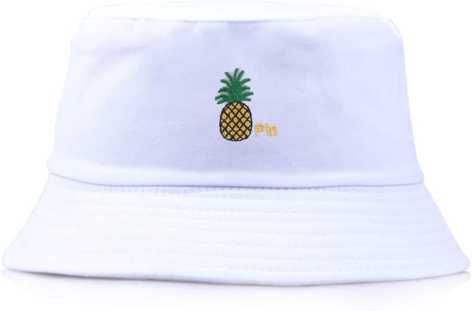 planuuik Unisex Reversible Bucket Hat Lindo Bordado de pi/ña Gorra de Pescador de ala Ancha