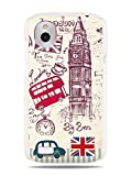 "GRÜV Premium Case - ""London Theme Medley with Red Double Decker Bus Big Ben Cab"" Design - Best Quality Designer Print on White Hard Cover - for HTC Desire X / V T328E T328W"