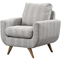 Homelegance Deryn Accent Chair with Herringbone Design Fabric Cover, Grey