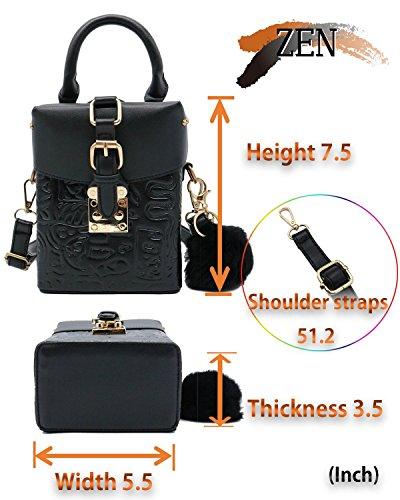 Cellphone Retro Black Handbag Shoulder With Bag Mini Crossbody Women ZEN Pouch Fur Og0qwfO