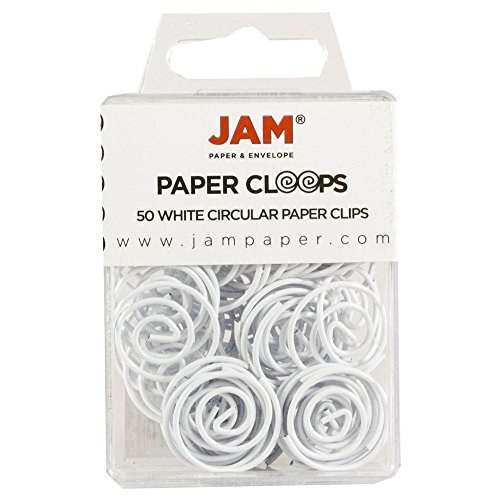 JAM Paper Papercloops - Round Circular Paperclips - White - 50/pack