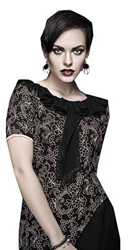 Jayayamala Frauen-Schwarz-Georgette-Kleid / Schwarz Tunika / stickte Kleid Kurzarm Bluse Spitze