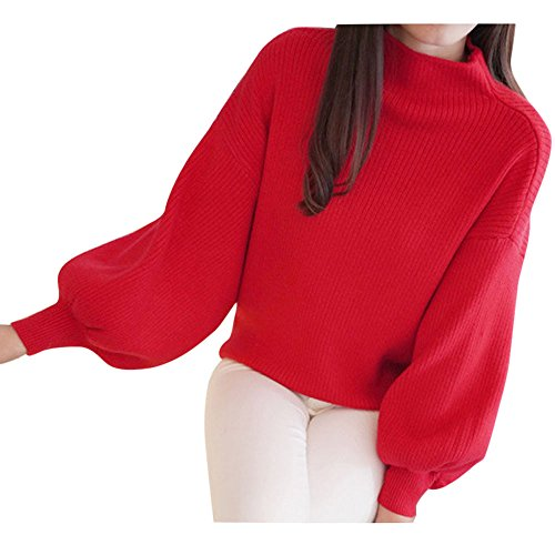 Birdfly Ladies' Pure Color Half-High Neck Loose Lantern Sleeve Sweater for Women (Red)