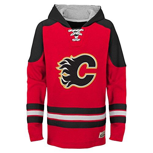 NHL Calgary Flames Youth Boys Legendary Hoodie, Medium(10-12), Red