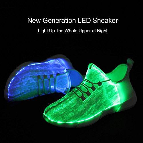 Idea Frames Fiber Optic LED Leuchten Schuhe Weiß Für Frauen Männer Mädchen Jungen 11 Farben Flashing USB Wiederaufladbare Mode Turnschuhe Valentinstag Geschenk Weiß