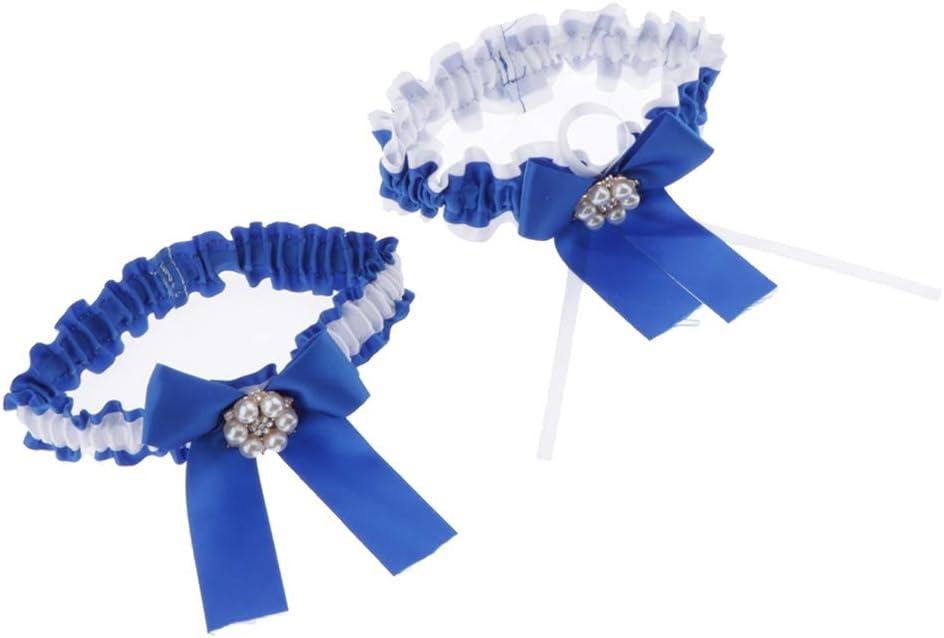sharprepublic 2 Pedazos Liguero Flolar Nupcial Muchachas Liga de Anillo Pierna Floral Banda de Mulso Elástico Elegnate para Novia - Azul