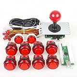 EG Starts Zero Delay USB Encoder To PC Games Joystick + 10x LED Illuminated Push Buttons For Arcade Joystick DIY Kits Parts KOF Mame Raspberry Pi 2 3 Red Colors