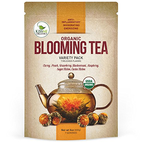 Blooming Tea - 7 Organic All Natural Flavors of Flowering Tea - 100% Organic Calendula Flowers and Green Tea Leaves in Hand Sewn Blooming Tea Balls - 7 Blooms - 1 of Each Flavor