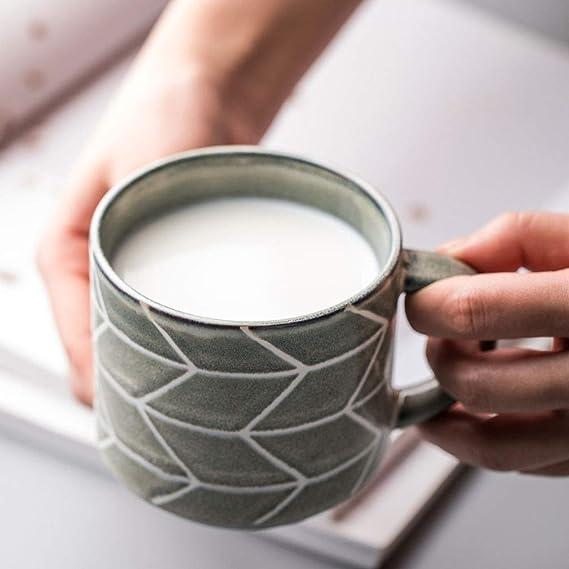 Cup 123 Taza de Bebida nórdica Desayuno Taza de Agua de cerámica Taza Retro Taza Mujeres ins Estilo Taza de café Ligero 330ml: Amazon.es: Hogar