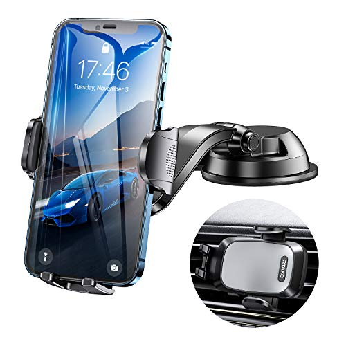 RTAKO Phone Holder for Car, Universal Car Phone Holder Mount for Dash Windshield Air Vent and Desktop Strong Suction 4in1 Cell Phone Car Holder Fit with iPhone 11 12 Pro X Max XR Galaxy S20 All Phones