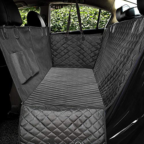 Honest Luxury Quilted Dog Car Seat Cover with Side Flap Pet Front&Backseat Cover for Cars, Trucks, and Suv's - Waterproof & Nonslip Diamond Pattern Dog Seat Cover(Door Protector) from HONEST OUTFITTERS
