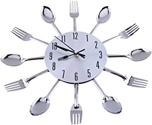 Kitchen Wall Decor, Stainless Steel Large 3D Mirror Surface Modern Design Cutlery Kitchen Utensil Spoon Fork Wall Clock for Kitchen or Eating Area Decoration