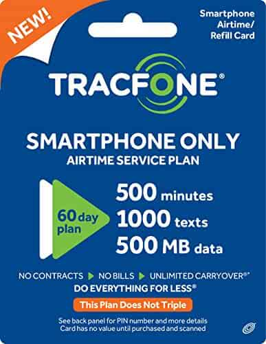 Tracfone Smartphone Plan / 60 Days, 500 Minutes, 1000 Texts, 500mb Data