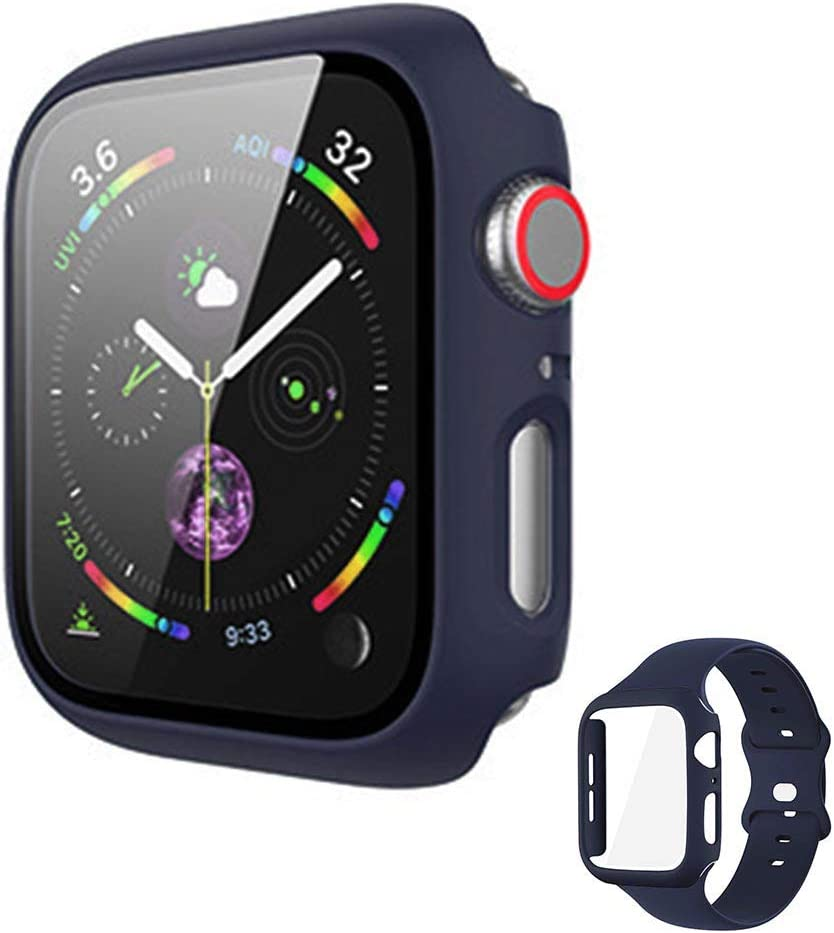 Vopteep Watch Case [Band Included] Compatible for Apple Watch Series 6/SE/5/4 Durable Soft Silicone Strap with Slim Full Coverage Matte Hard Case Replacement for iWatch(Midnight Blue,40mm S/M)