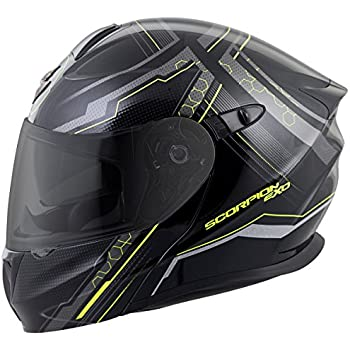ScorpionExo EXO-GT920 Satellite Full Face Modular Helmet (Black/Neon, Medium)