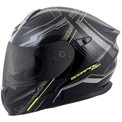 Helmet Scorpion Modular (ScorpionExo EXO-GT920 Satellite Full Face Modular Helmet (Black/Neon, Medium))