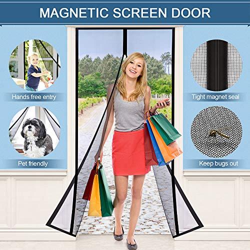 Magnetic Screen Door, Tdbest [Upgraded Version] Screen Door Mesh with Fireproof Fiberglass Anti Mosquito Bugs Mesh Curtain, Easy to Install Full Frame Velcro, Fits Door Size up to 36x83