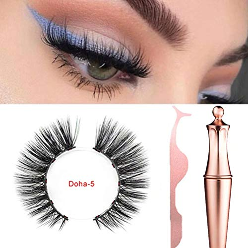 Magnetic Eyeliner With Magnetic Eyelashes, 2019 New Magnetic Eyeliner Kit With 3d Magnetic Eyelash Set, No Glue 5 Magnets Eyelashes Natural Soft Eyelashes Extensions Waterproof Long Lasting