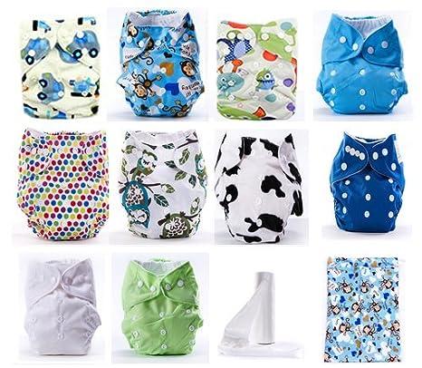 Pack de 10 Pañales de Tela Reutilizables Lavables para Niño + 10 Absorbentes de Bambú + Rollito Protectores + Bolsa Guardapañales + Caja Regalo: Amazon.es: ...