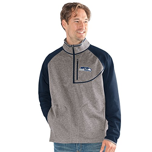 G-III Sports NFL Seattle Seahawks Mountain Trail Half Zip Pullover, XX-Large, Gray