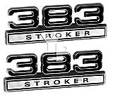 383 383ci V8 Engine Block Stroked Stroker Emblems; Black with Chrome Trim - Pair