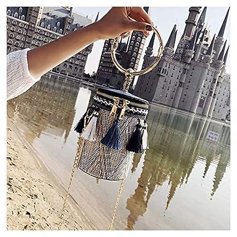 Amazon.com: Japan Style Bucket Cylindrical Straw Bags Barrel ...