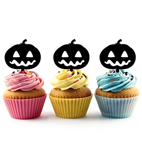 TA0377 Halloween Pumpkin Jack O Lantern Silhouette Party Wedding Birthday Acrylic Cupcake Toppers Decor 10 ()